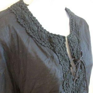 Mossimo Black Cotton Blouse XL